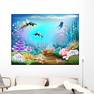 Wallmonkeys Underwater World Wall Decal Peel and Stick Graphic WM355512 (60 in W x 45 in H)