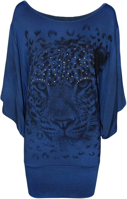 Ladies Tiger Print Glitter Batwing Womens Top 12-30: Amazon.co.uk: Clothing