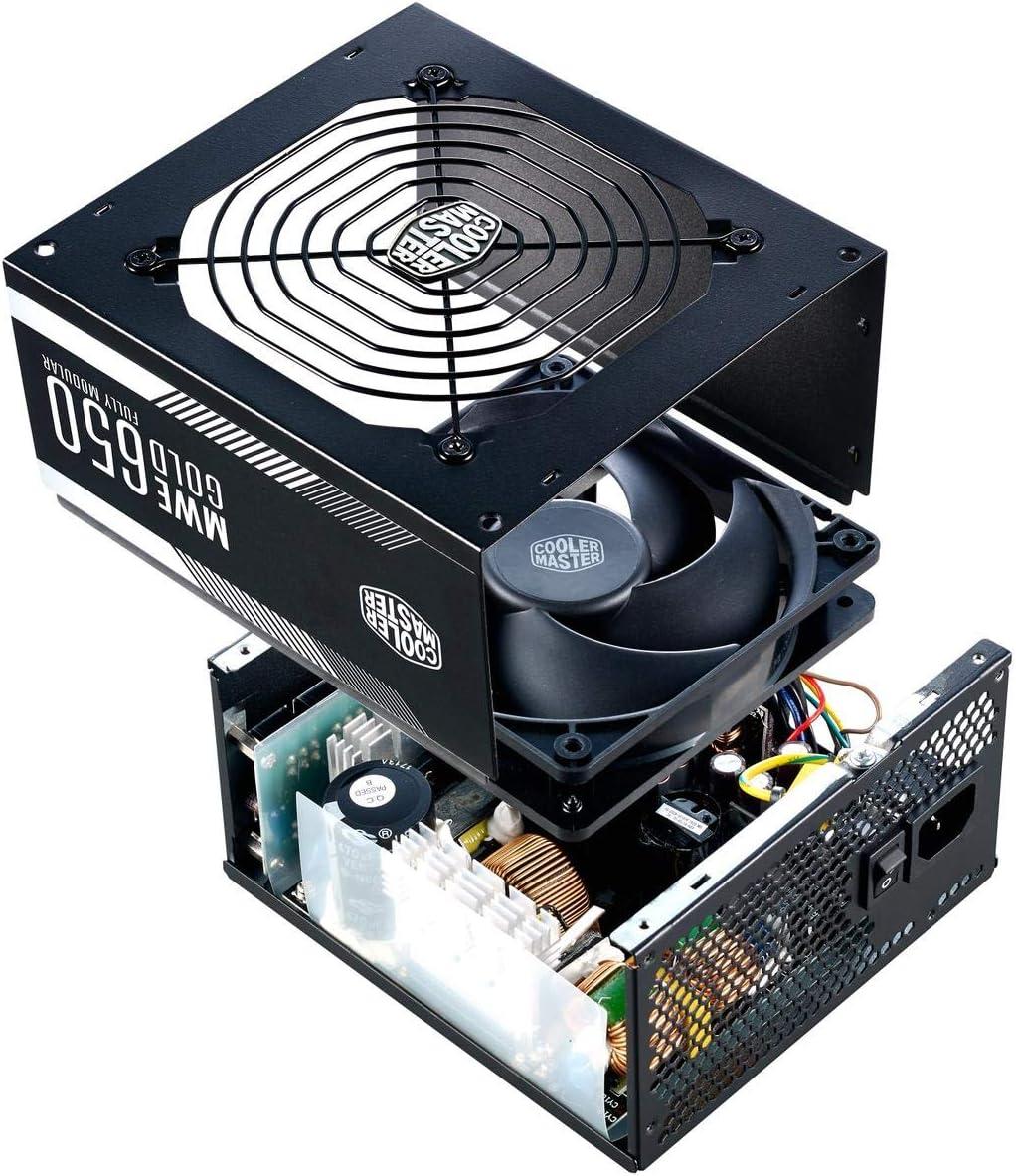 Flat Black Cables Single +12V Rail MPE-4501-ACAAW-US Cooler Master MWE 450 White 450W 80+ White PSU w// Hydro-Dynamic-Bearing Silent 120mm Fan