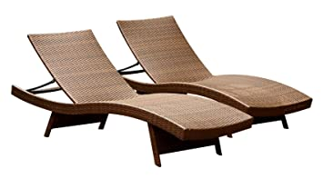 Abbyson Palermo Outdoor Adjustable Wicker Chaise Lounge, Brown, Set Of 2 Part 35
