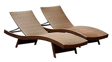 Amazon Com Abbyson Palermo Outdoor Adjustable Wicker Chaise Lounge