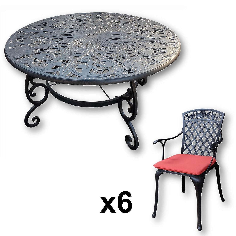 Lazy Susan   JOYCE 135 Cm Runder Gartentisch Mit 6 Stühlen   Gartenmöbel  Set Aus Metall