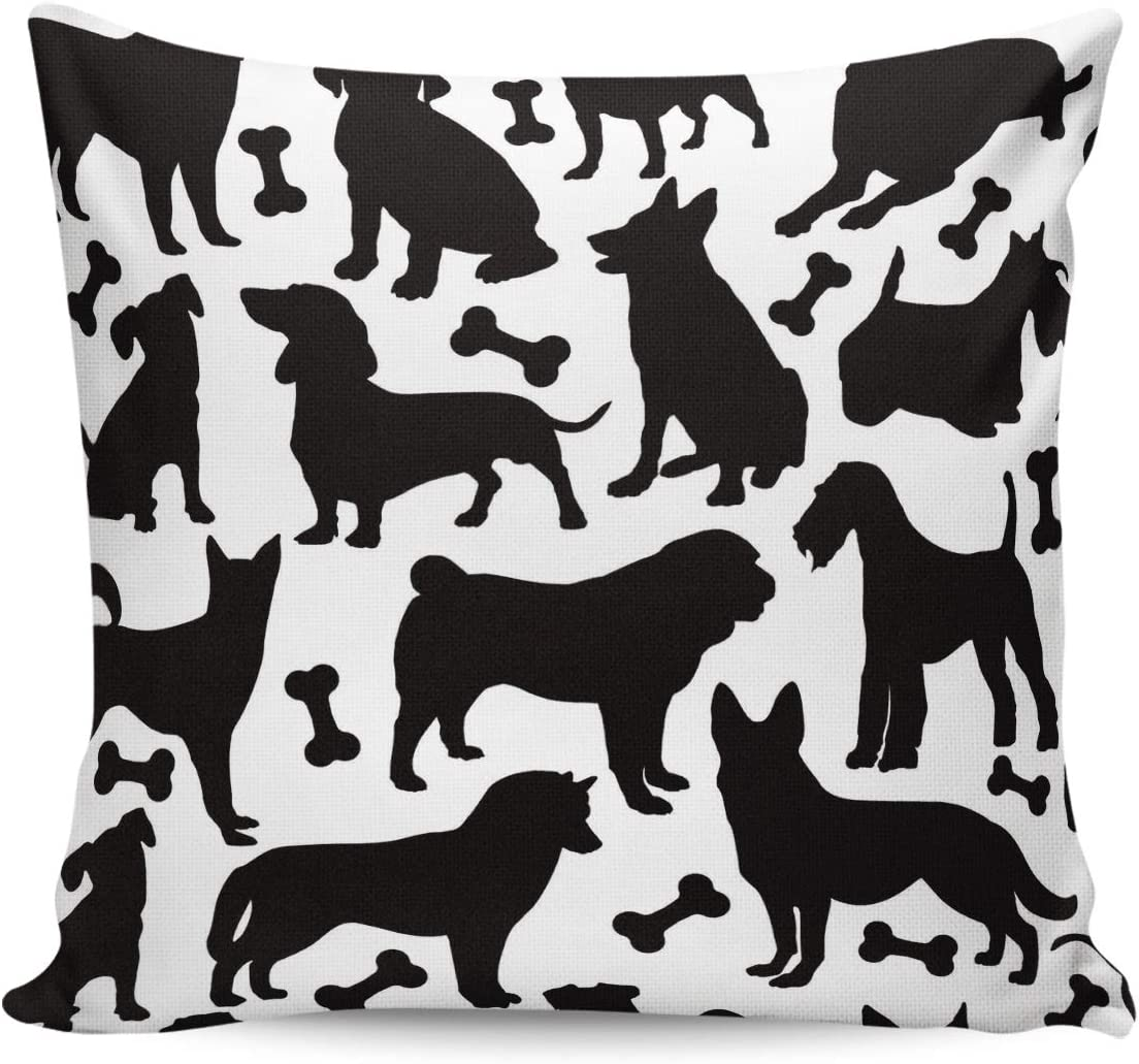 Amazon Com Lamanda Funny Bones And Dogs Silhouettes Throw Pillow Case Cotton Linen Cushion Covers Home Decorative Black And White Pillowcases For Sofa Couch Bed Car 20x20in Home Kitchen