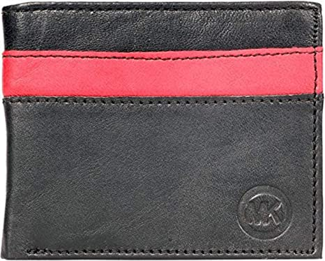0a3a08b29c31 MK Men Black, Red Genuine Leather Wallet (8 Card Slots): Amazon.in: Bags,  Wallets & Luggage