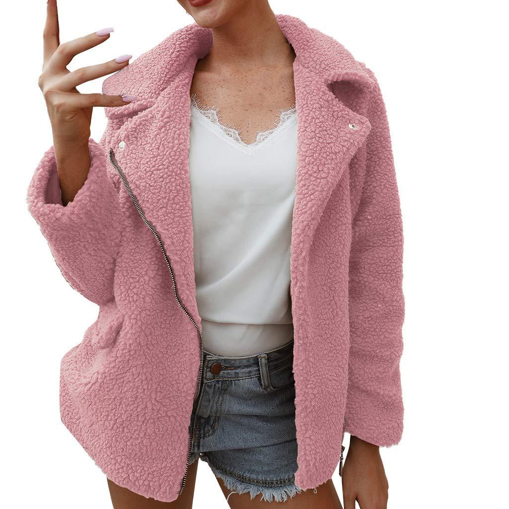 ♫Loosebee♫ Womens Lapel Plush Coat,Winter Solid Color Long Sleeve Zipper Outerwear Casual Warm Faux Wool Jacket Pink by ♫Loosebee♫