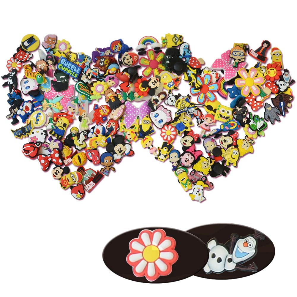 Onepine 60 Pcs PVC Shoe Charms Fit Crocs & Bands Bracelet Wristband, Kids Party Birthday Gifts mix color (60 pcs) by Onepine (Image #1)