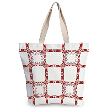 iPrint Stylish Canvas Tote Bag,Traditional House Decor,Modern and Nostalgic  Square Shaped Mixed 28d937d2c1