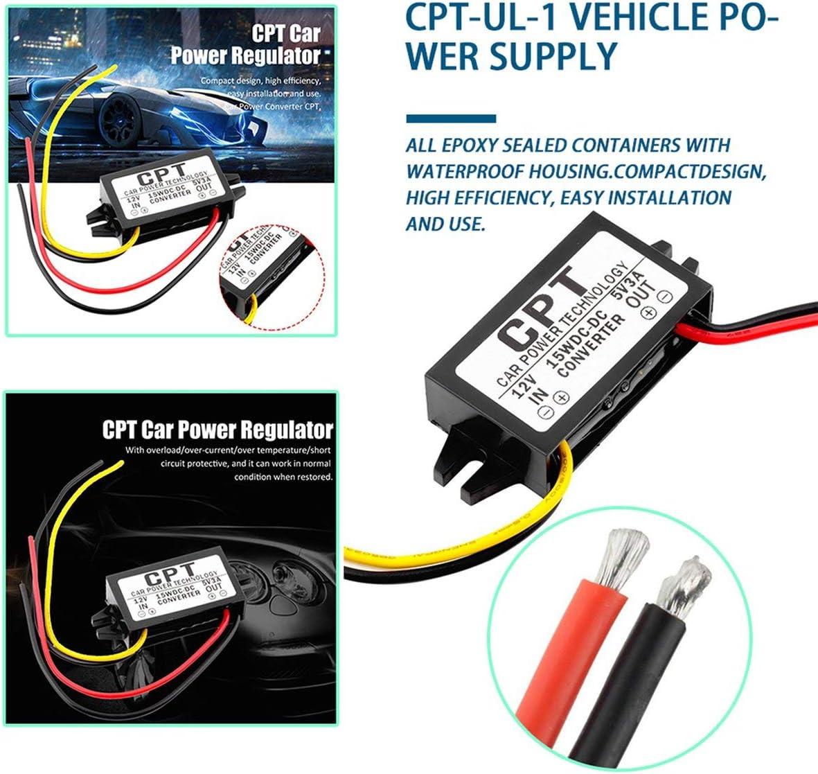 Tetlow CPT-UL-1 Convertisseur DC//DC R/égulateur 12V /à 5V 3A 15W Voiture LED Puissance Affichage