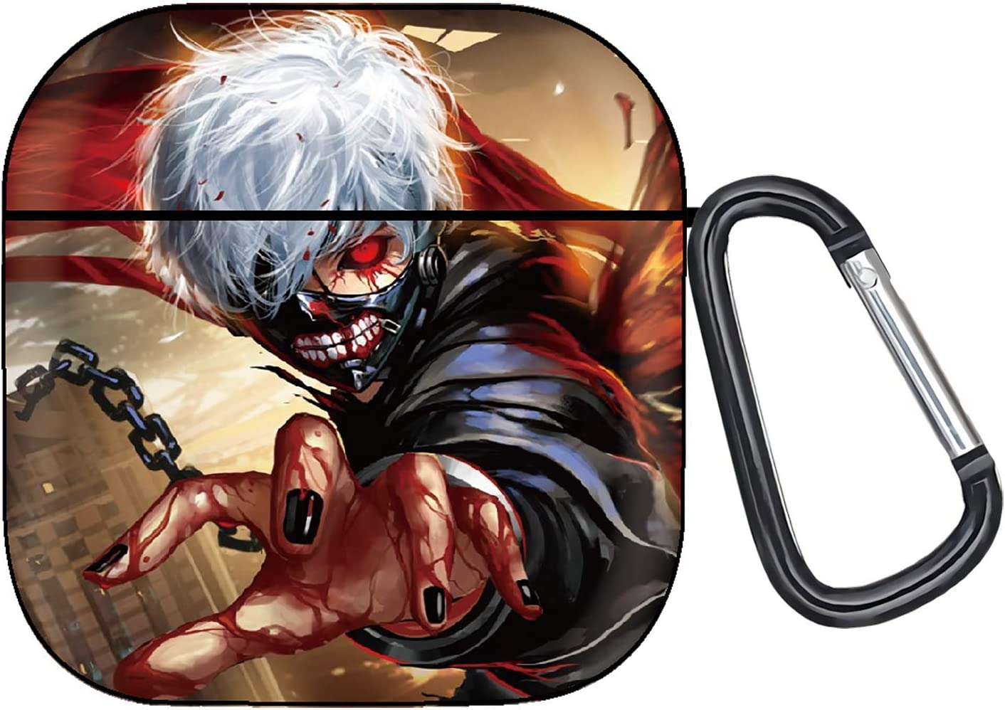 Tokyo Ghoul Anime AirPods 2&1 Case, Protective Soft Silicone Cute Luxury Fashion Cover with Keychain for Teens