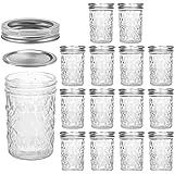 VERONES Mason Jars Canning Jars, 8 OZ Jelly Jars With Regular Lids and Bands, Ideal for Jam, Honey, Wedding Favors, Shower Favors, Baby Foods, 15 PACK