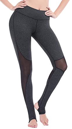 abffd5253c554 DeepTwist Womens Yoga Pants Mesh Active Stirrup Leggings Gym Workout  Stretch Running Tights Dark Grey,