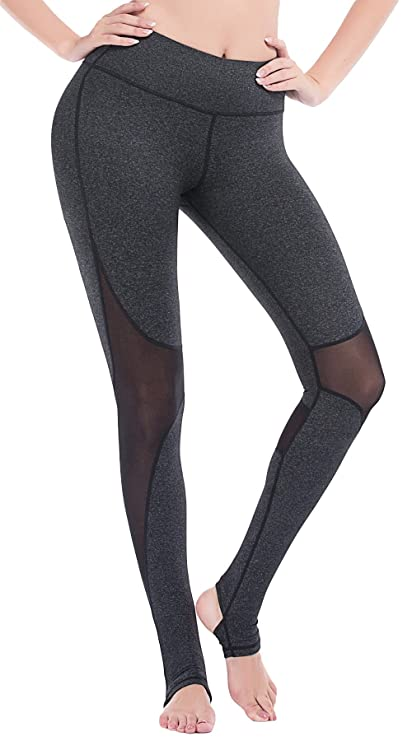 e9742cb0aa277 Amazon.com: DeepTwist Women's Mesh Yoga Pants Full Length Barre Stirrup  Leggings Active Gym Workout Running Tights: Clothing