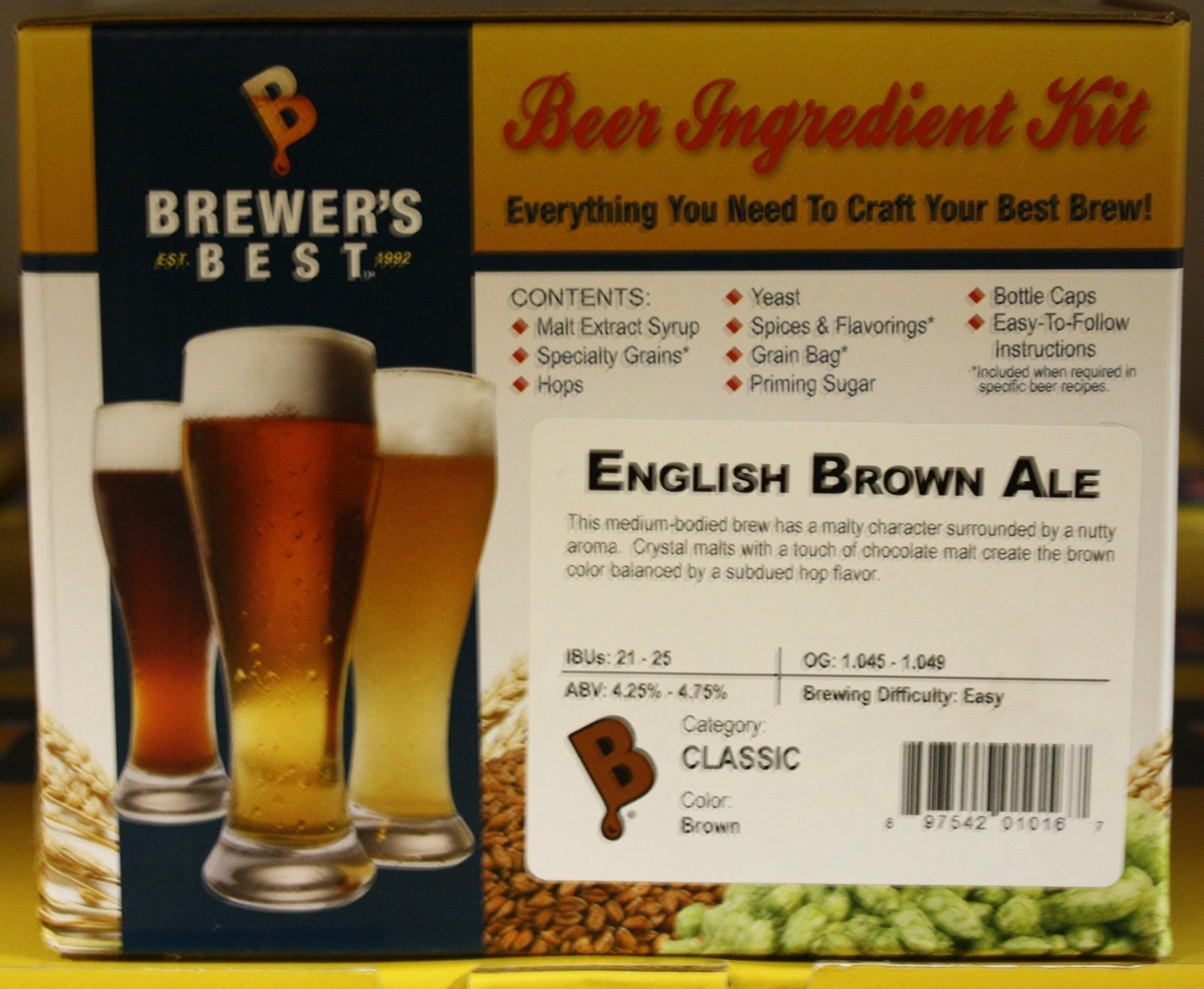 English Brown Ale Homebrew Beer Ingredient Kit Brewers Best BIK-1016