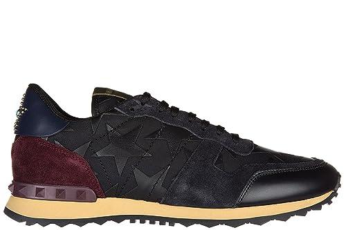 Valentino Zapatos Zapatillas de Deporte Hombres en Piel Nuevo rockrunner camustars Negro EU 42 LY0S0723ANC 0NO: Amazon.es: Zapatos y complementos