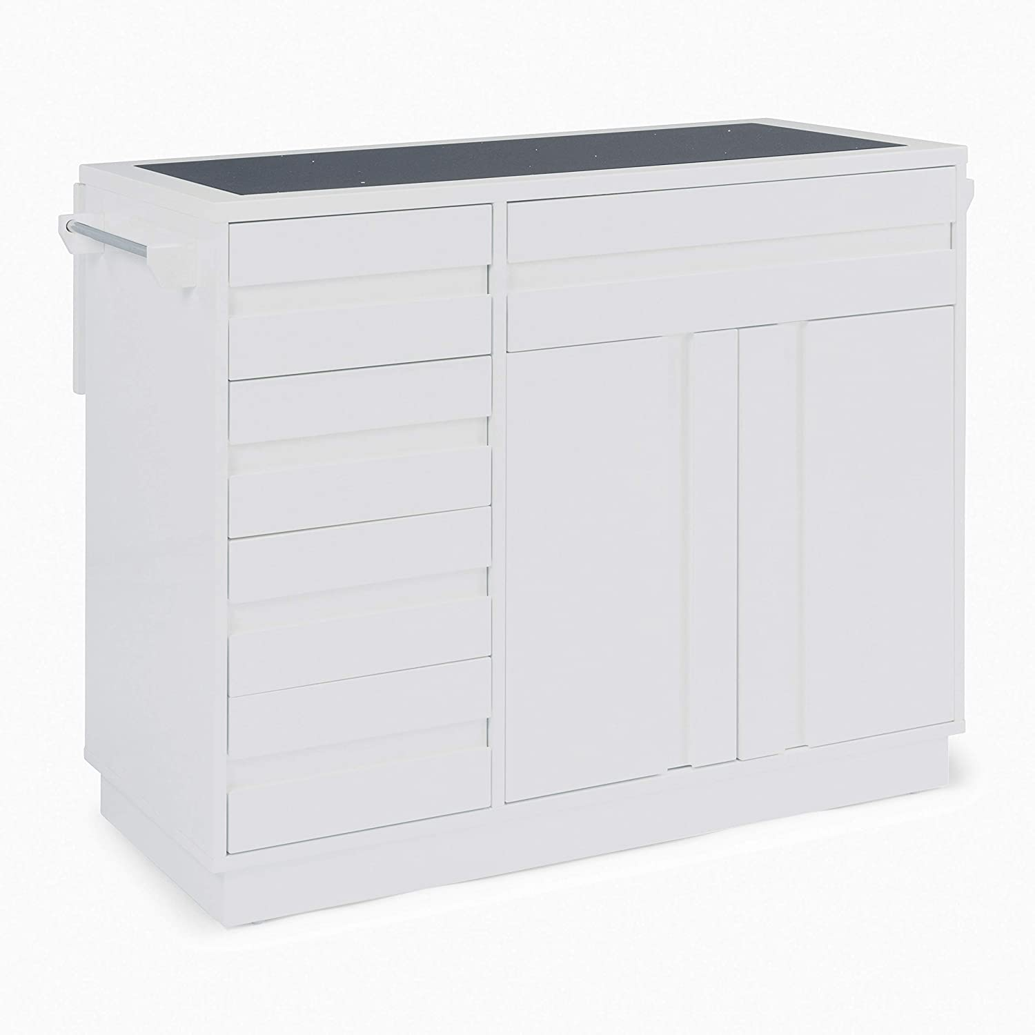 Linear White Kitchen Island by Home Styles