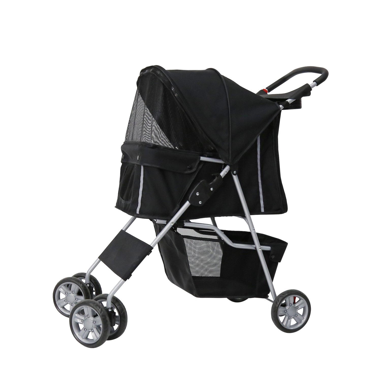 Peach Tree Four Wheel Pet Stroller, for Cat, Dog and More, Foldable Carrier Strolling Cart (black)