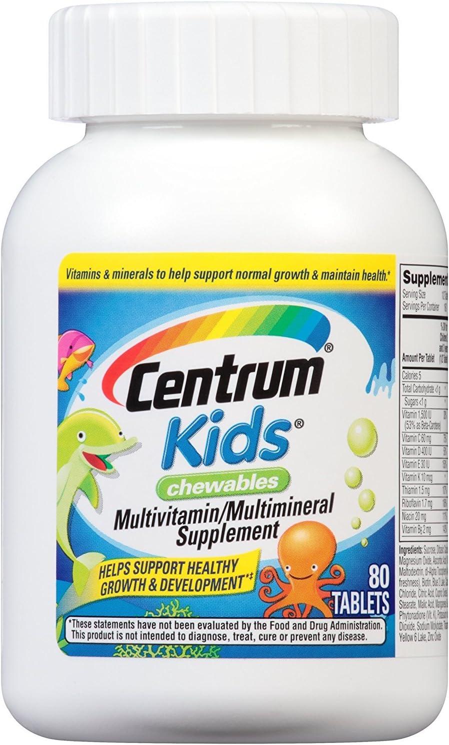 Centrum Kids Chewable Tablets 80 Tablets Pack of 4