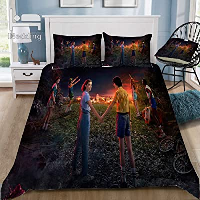 TNIim Bedding Set Horror Movie Stranger-Things 3D Printed Duvet Cover Sets Polyester Cool Soft Suitable for Children and Adults (3,Twin): Kitchen & Dining