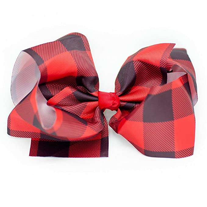 93e1f2ff874 Image Unavailable. Image not available for. Color: Buffalo Checkered Hair  Bow - Plaid Hair Bows Red & Black ...