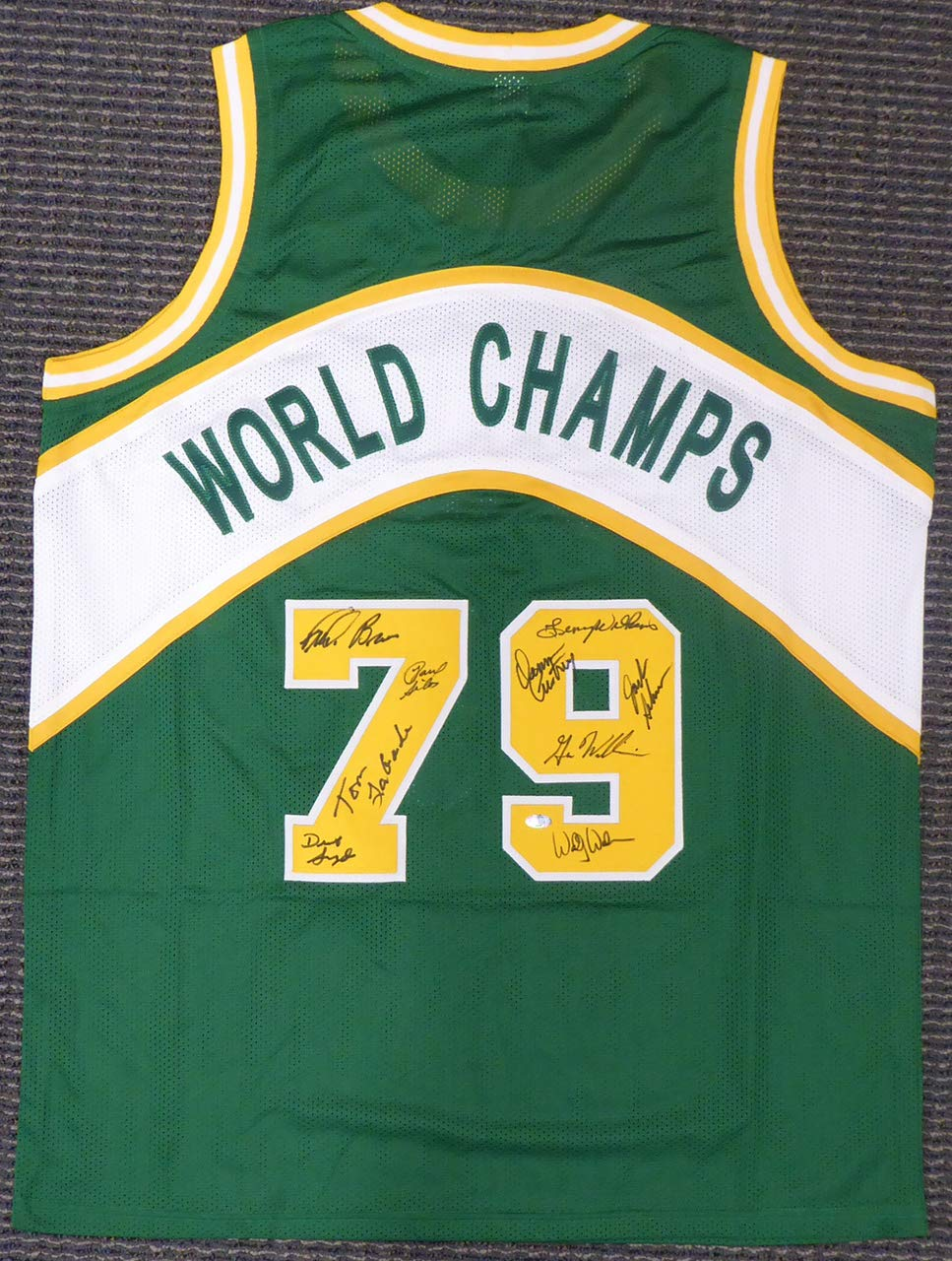 6492cd0a 1978-79 NBA Champions Seattle Supersonics Multi Signed Autographed Green  Jersey With 9 Signatures Including Fred Brown & Lenny Wilkens MCS Holo at  Amazon's ...