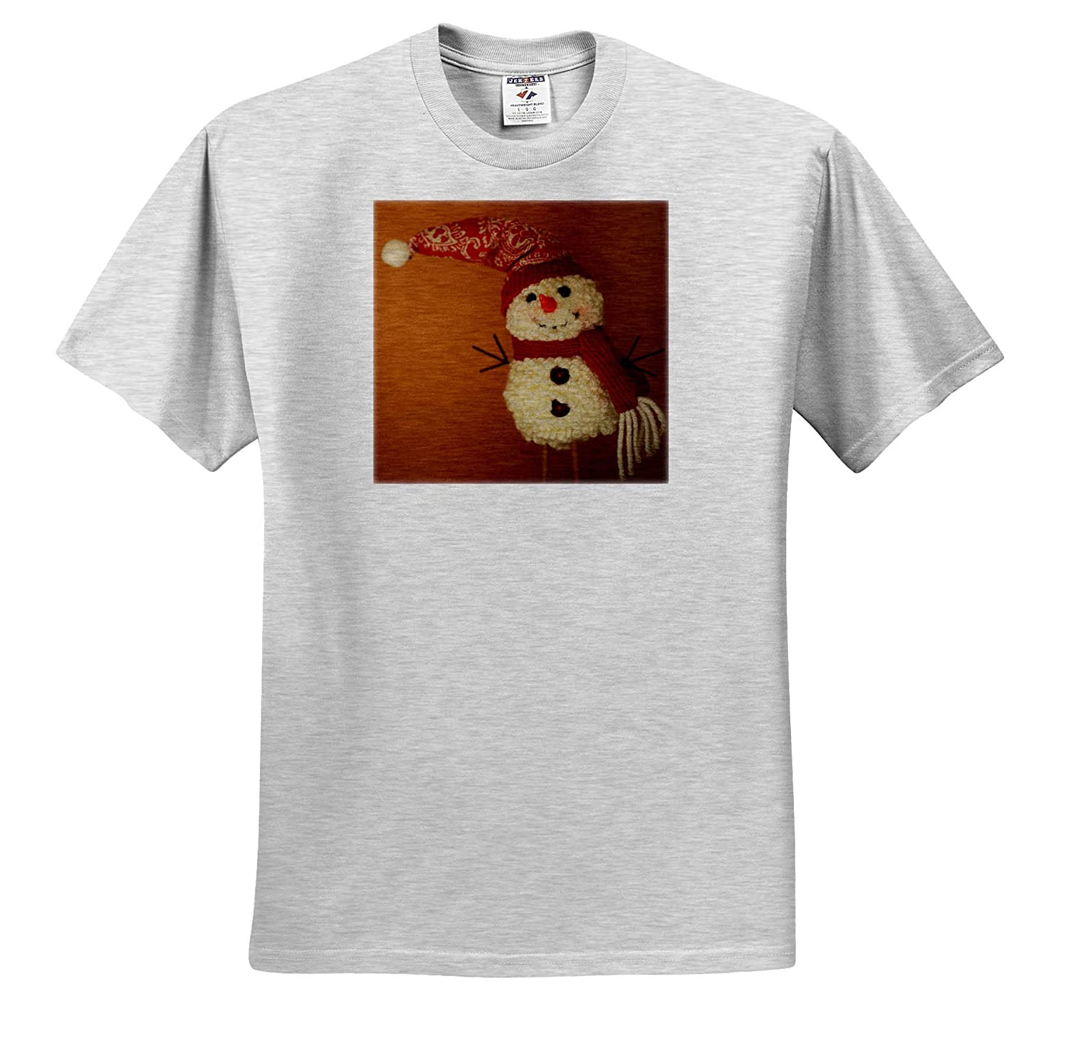 Holiday Photograph of a Snowman Decoration on Display for The Holidays 3dRose Stamp City - T-Shirts