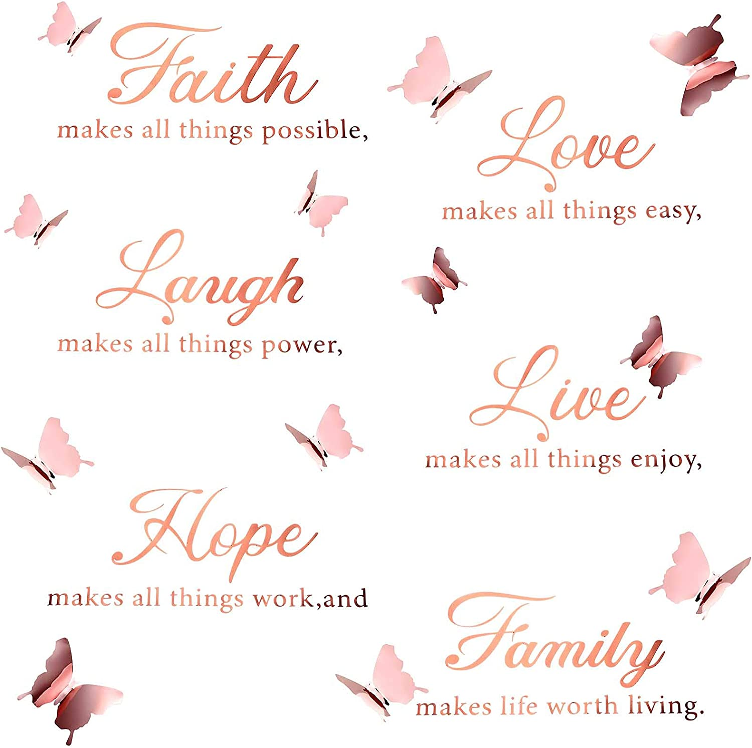 Boao 6 Pieces Faith Hope Love Laugh Family Live Wall Decal Sticker Motivational Wall Decal Sticker with 12 Pieces 3D Butterfly Decal Inspirational Quotes Sticker Set for Home Office Decor (Rose Gold)