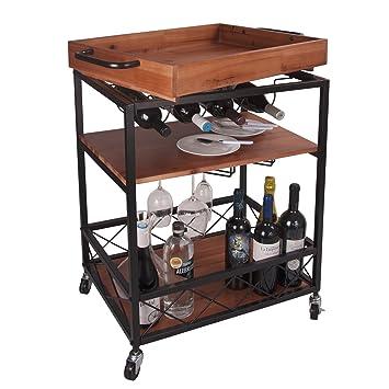 Amazon.com: LEVE - Carro de cocina de madera maciza de 24.0 ...