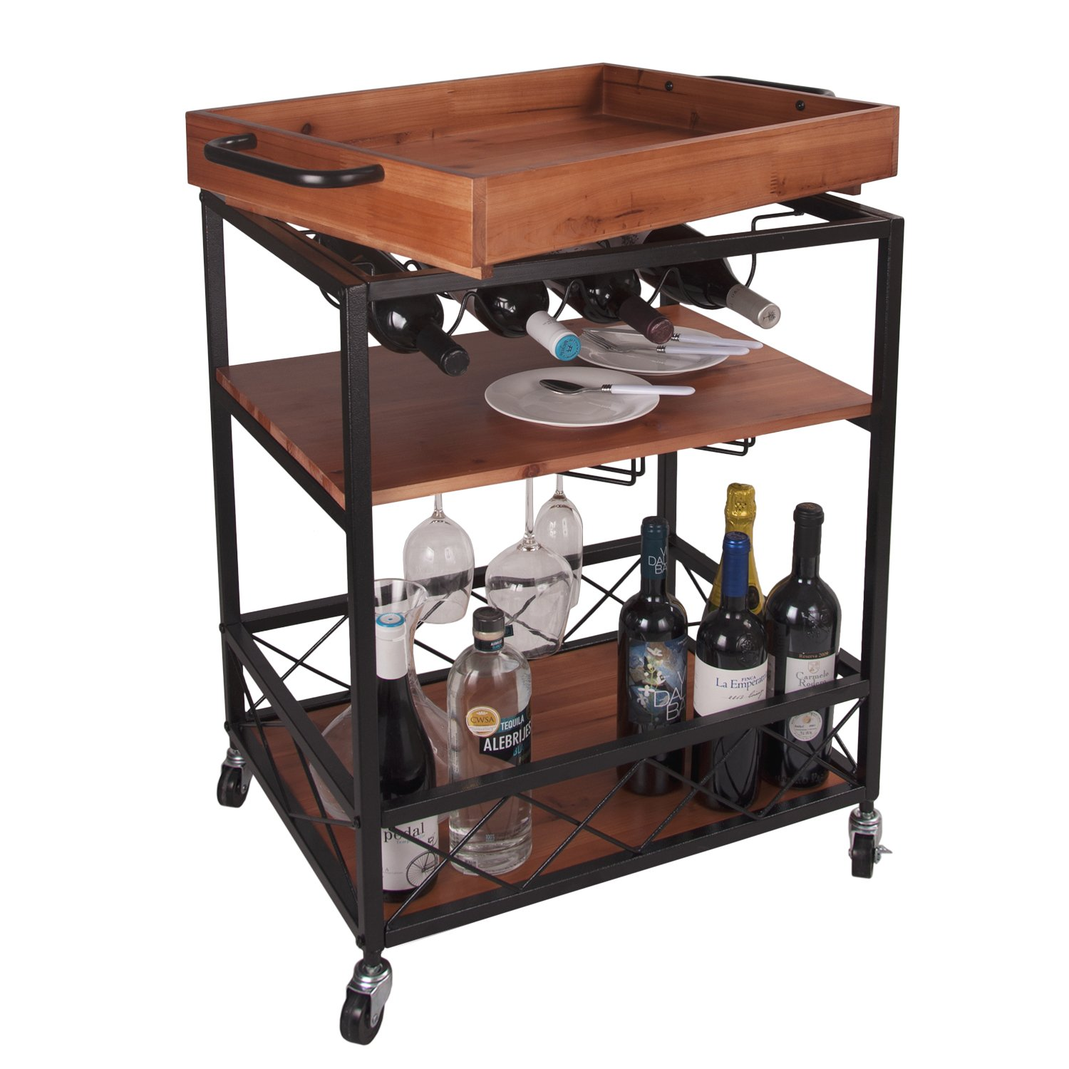 LEVE 24''x18'' Solid Wood Kitchen Serving Cart Bar Buffet Cart 3 Tiers with Bottle and Goblet Holder
