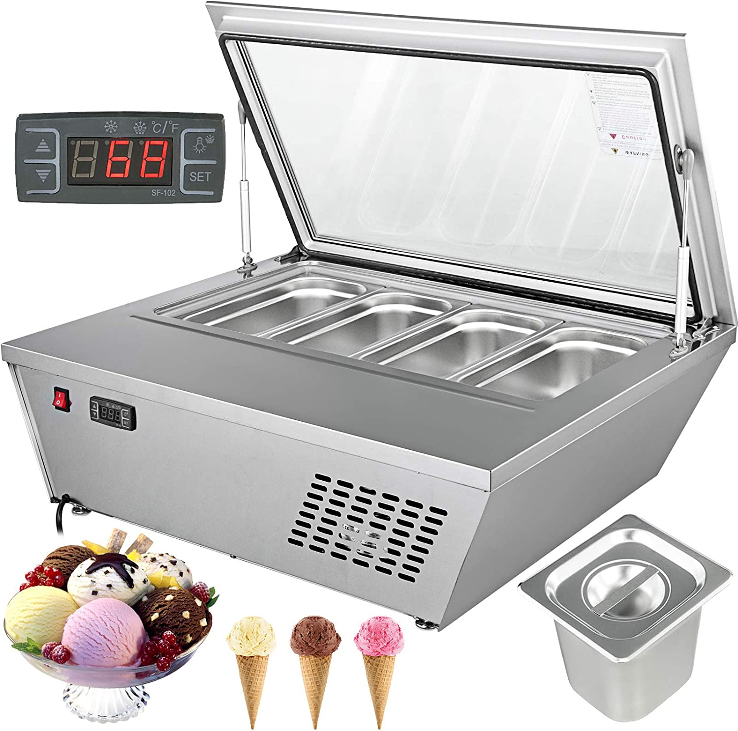 VBENLEM 250W Commercial Ice Cream Display Freezer 110V Gelato Show Case Automatic Defrost Flat Cover 8x2.5L Pans Ice Cream Display Cooler, Annexation 4x5L Pans, -0.4℉ to -13℉