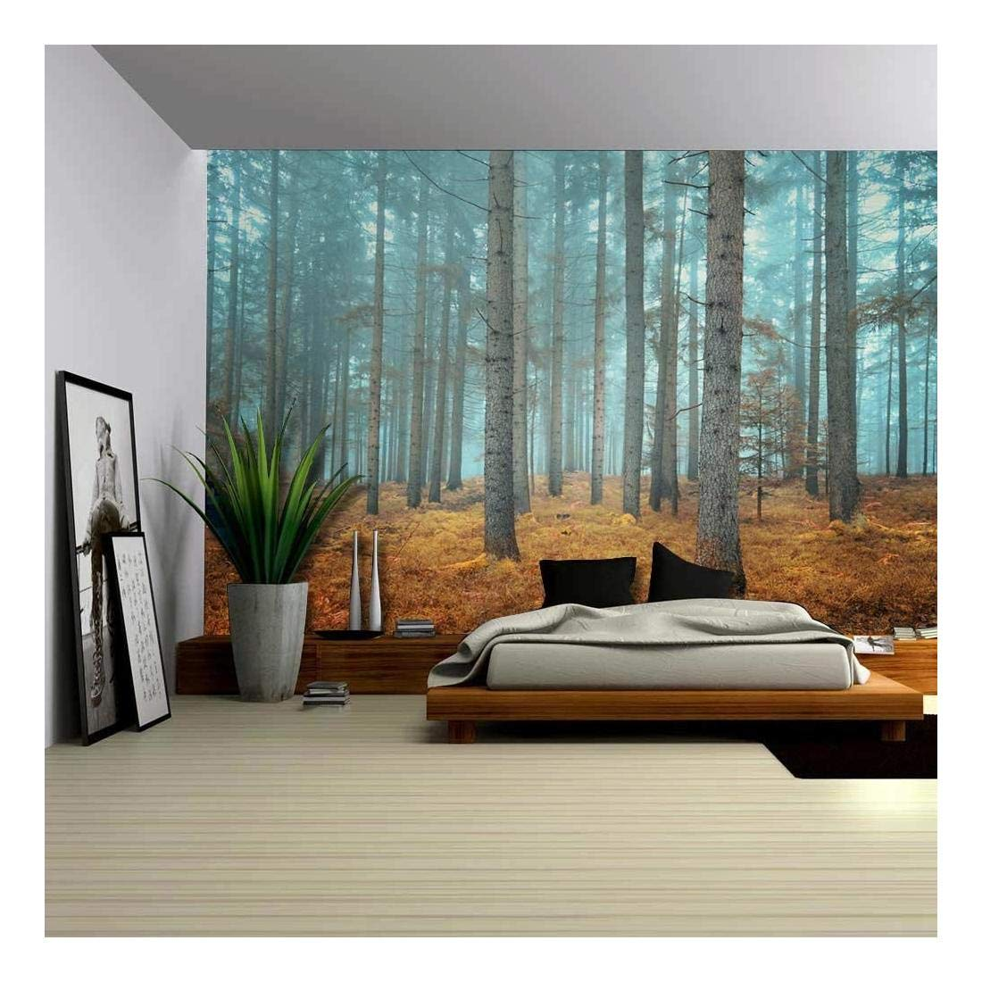 Wall26 - Beautiful Dreamlike Forest in Autumn Time - Wall Mural, Removable Sticker, Home Decor - 100x144 inches by wall26