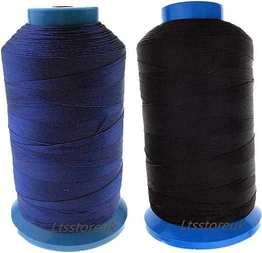 Ltsstoreuk Hilo de coser de nailon de 1500 yardas, tamaño T70#69, para tapicería, cortinas, perlas, equipaje, bolsos, cuero, zapatos, para máquina de coser, color negro y azul, juego de 2: Amazon.es: Hogar