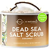 O Naturals Ultra Hydrating Exfoliating Coconut Oil Dead Sea Salt Body Face & Foot Scrub Skin Smoothing Anti Cellulite Fights Acne Stretch Mark Ingrown Hair Dead Skin Remover For Women & Men HUGE 18oz