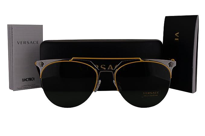 c05efc4648d Image Unavailable. Image not available for. Colour  Versace VE2181  Sunglasses Yellow Gunmetal w Green Lens 100171 ...