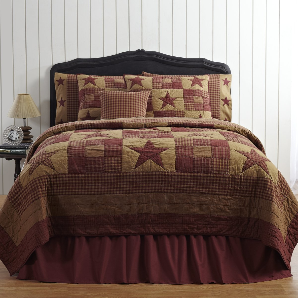 VHC Brands Classic Country Primitive Bedding - Ninepatch Star Red Quilt, Twin, Burgundy