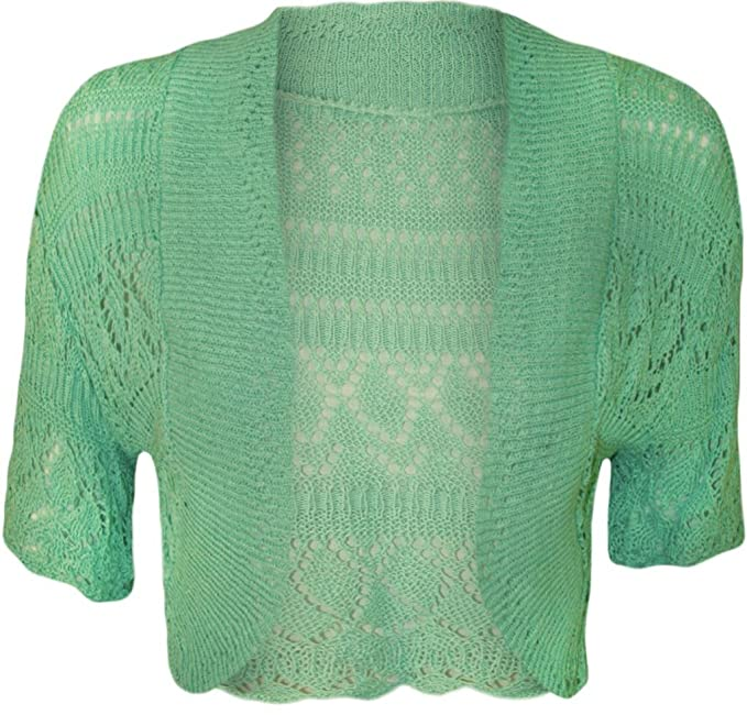 Kinder Mädchen Häkeln Strick Zucken Strickjacke Bolero Pullover