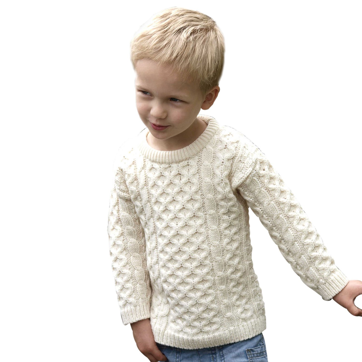 100% Extra Soft Irish Merino Wool Natural Kids Crew Neck Sweater, 2-3 Yrs Aran Crafts