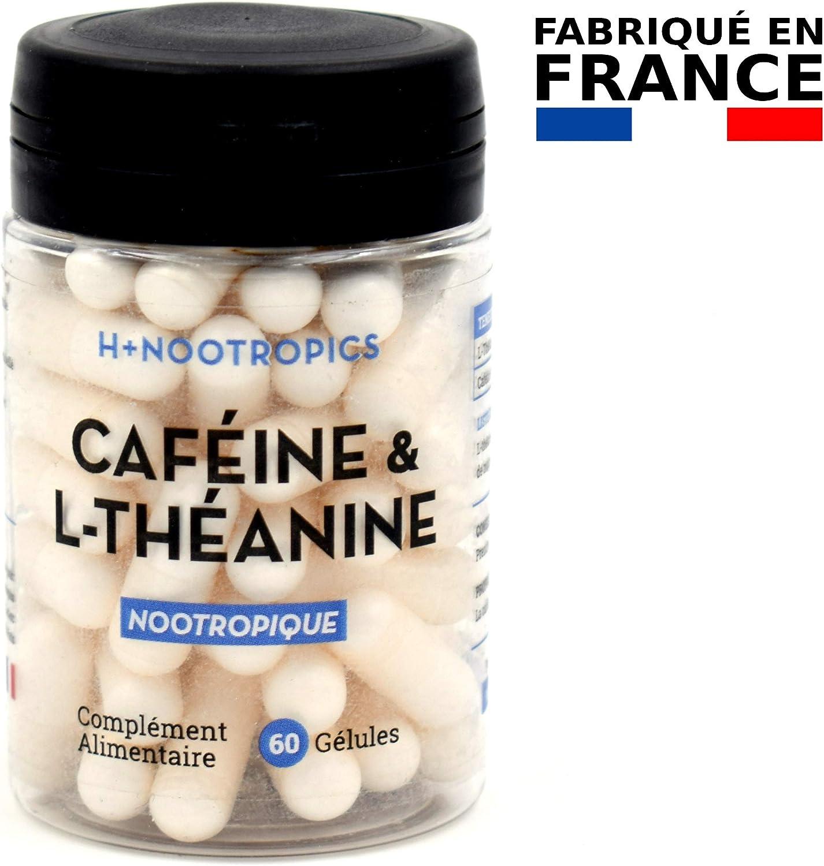 H+ Nootropics - Caféine & L-Théanine - Aide à rester VIGILANT et CONCENTRÉ - 60 gélules - Satisfait ou remboursé !
