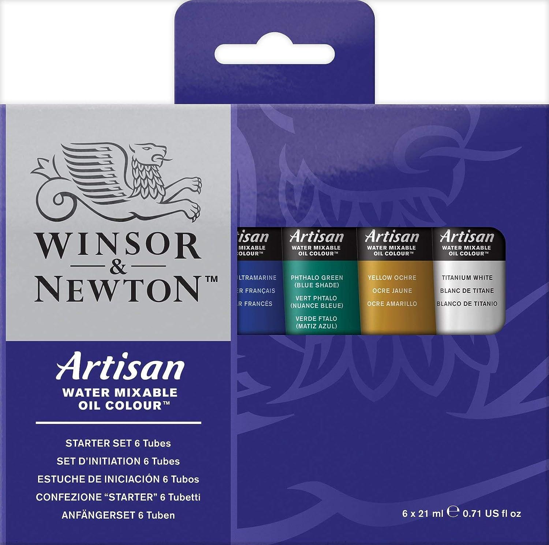 Winsor & Newton Artisan Water Mixable Oil Colour Starter Set, Six 21ml Tubes