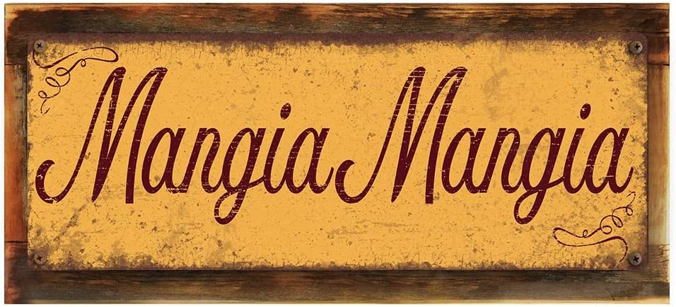 """Wood-Framed, Mangia Mangia Metal Sign, Framed 4""""x12"""", Spanish, Welcome, Rustic, Home Décor, Hand-Made"""