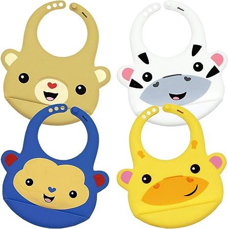 Pack 4 Baberos Bebe de Silicona Baberos Reutilizables Impermeable Suave Fácil de lavar con agua Babero Alimenticio de Silicona para Bebé Niño o Niña Diseño Animalitos: Amazon.es: Bebé