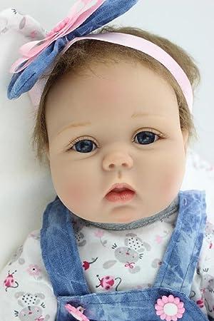 HOOMAI 22inch 55CM Poupée Reborn Baby Fille Réaliste Bébé Silicone Vinyle  Pas Cher Doll Magnétisme Jouet 749b89603f3