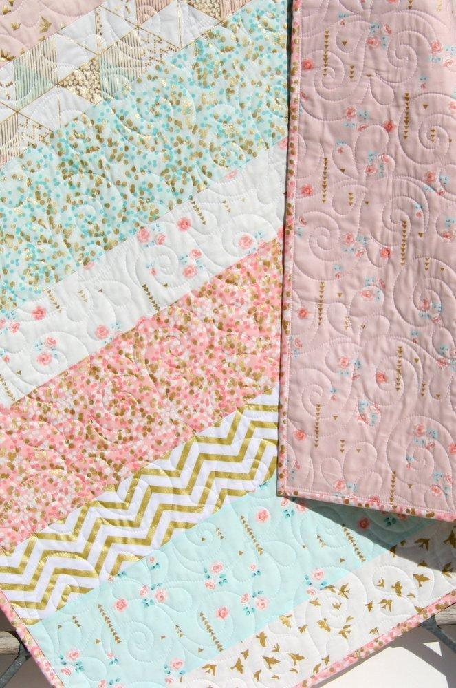 Shimmer Baby Quilt, Girl Crib Bedding, Blanket, Gold Striped, Coral Pink Light Blue Nursery Decor, Brambleberry Glitz by Kristin Blandford Designs