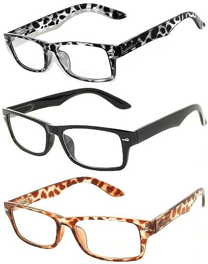 217134cdc9ab Amazon.com  Retro Narrow Rectangular Clear Lens Eyeglasses 3 Pack ...
