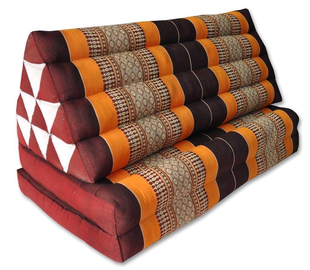Cuscino thailandais Triangolo XXL con seduta 2pieghe, Casual, Materasso, Kapok, Poltrona, divano, giardino, spiaggia marrone/arancione (81117) Wifash