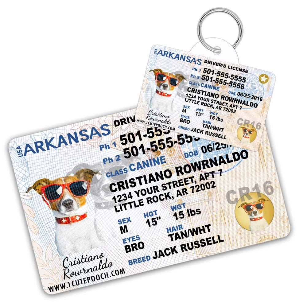 Arkansas Driver License Custom Dog Tag for Pets and Wallet Card - Personalized Pet ID Tags - Dog Tags For Dogs - Dog ID Tag - Personalized Dog ID Tags - Cat ID Tags - Pet ID Tags For Cats by 1 Cute Pooch