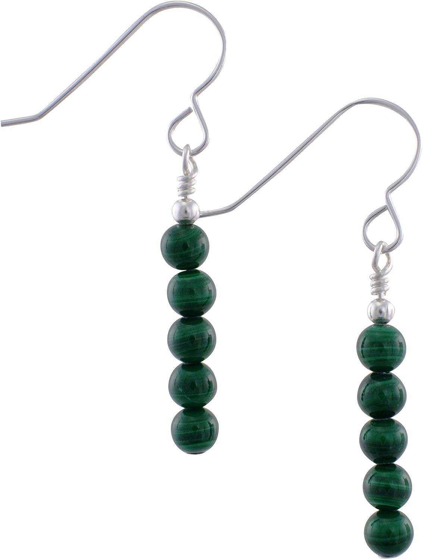 Pendientes de plata de ley y piedra preciosa de malaquita verde en forma de gota con caja de regalo