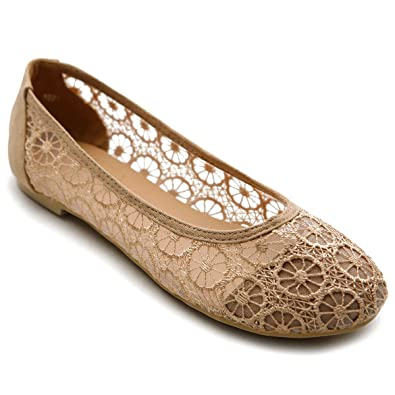 Womens Ollio Women's Ballet Shoe Floral Lace Breathable Flat Sale Outlet Size 38