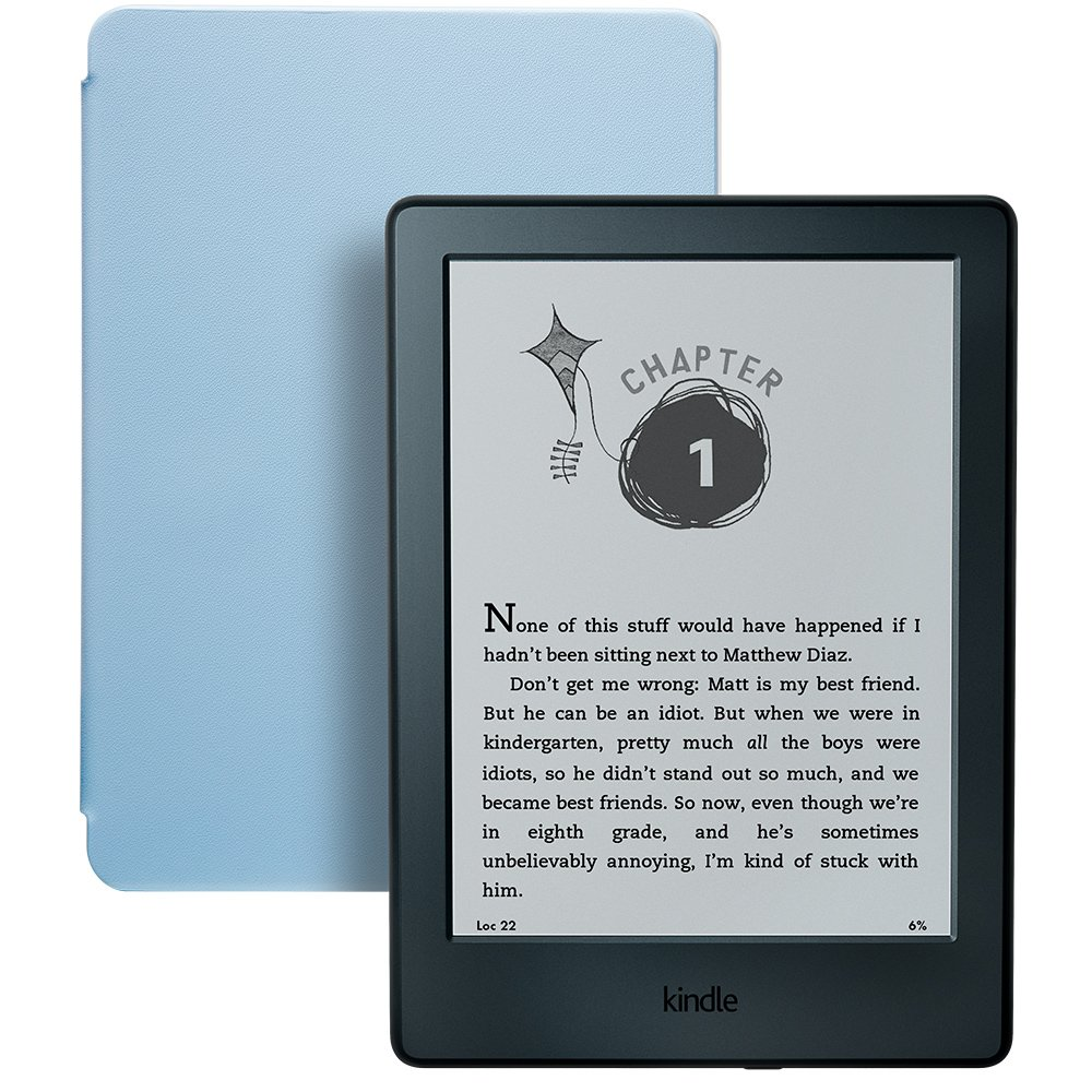 Kindle for Kids Bundle with the latest Kindle E-reader, 2-Year Worry-Free Guarantee, Blue Cover