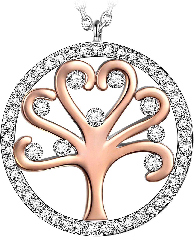 Kami Idea Mujer Collar, Árbol de la Vida, Chapado en Oro Rosa, Cristales de Swarovski, Embalaje de Regalo, Regalos para Mamá