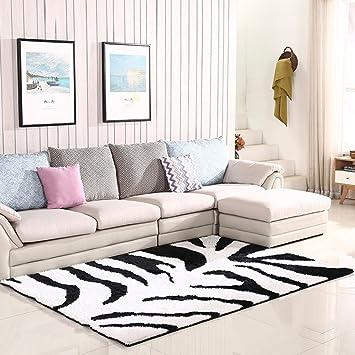 ZHIRONG Teppich Rechteck High End Schwarz Weiß Streifen Rutschfeste  Verdickung Wohnzimmer Schlafzimmer